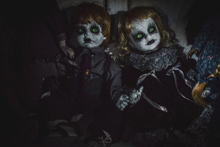 High angle view of portrait of halloween in dark