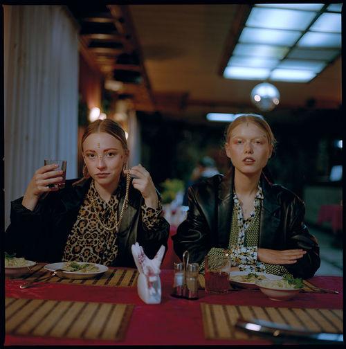Woman sitting at restaurant