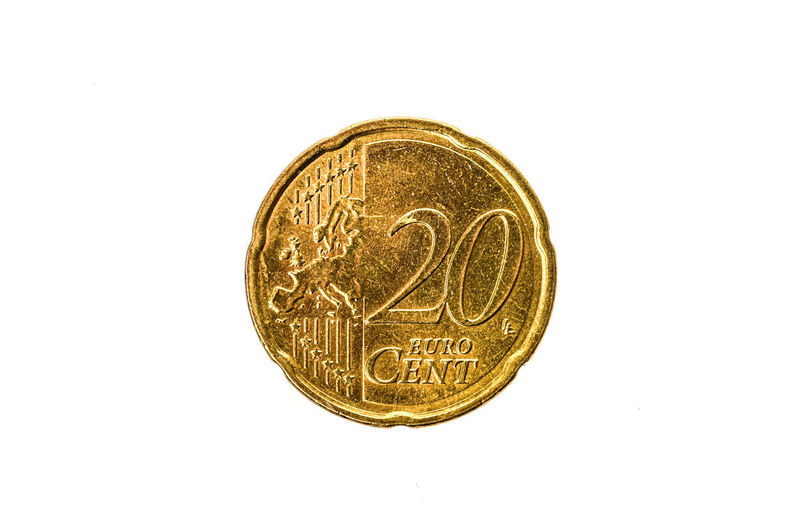 Old used and worn out 50 cents coin. Coin of European currency for 0,2 euro isolated on white. High resolution picture. Currency Economy Cash Cent Cent Coins Coins Currency Euro Euro Coin Euro Coins Europe European Currency European Money Finance Gold Gold Colored Metallic Monetary Money Old Studio Shot Symbol Used White Background €