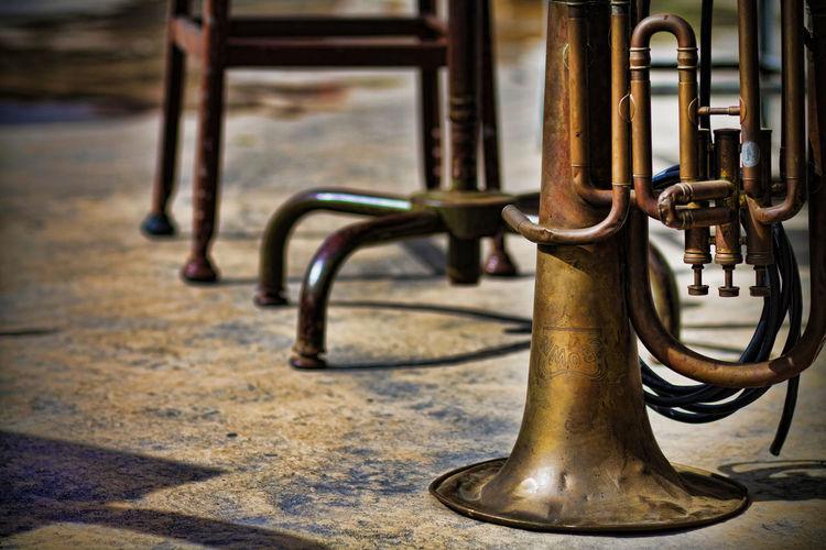 Horns Trumpet Music Brass Brass Instruments Rustic Grunge Tile Gold