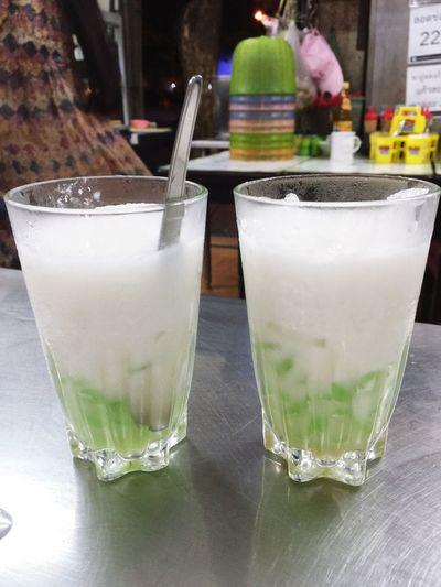 Thai Dessert Thai Ice Desert Table Two Glasses Close Up No People Lod Chong Singapore coconut milk