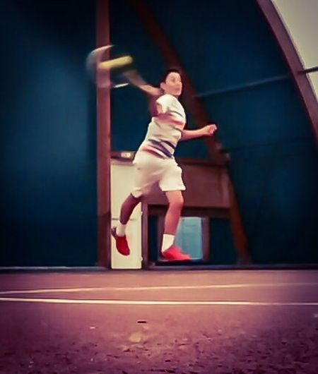 Tennis 🎾 Tennis Player Match Tenniscourt One Person Indoors  Red Childhood Children Tennis Game Tenni capturing motion Levitation