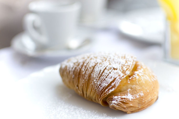 Close-Up Of Sfogliatella In Plate On Table