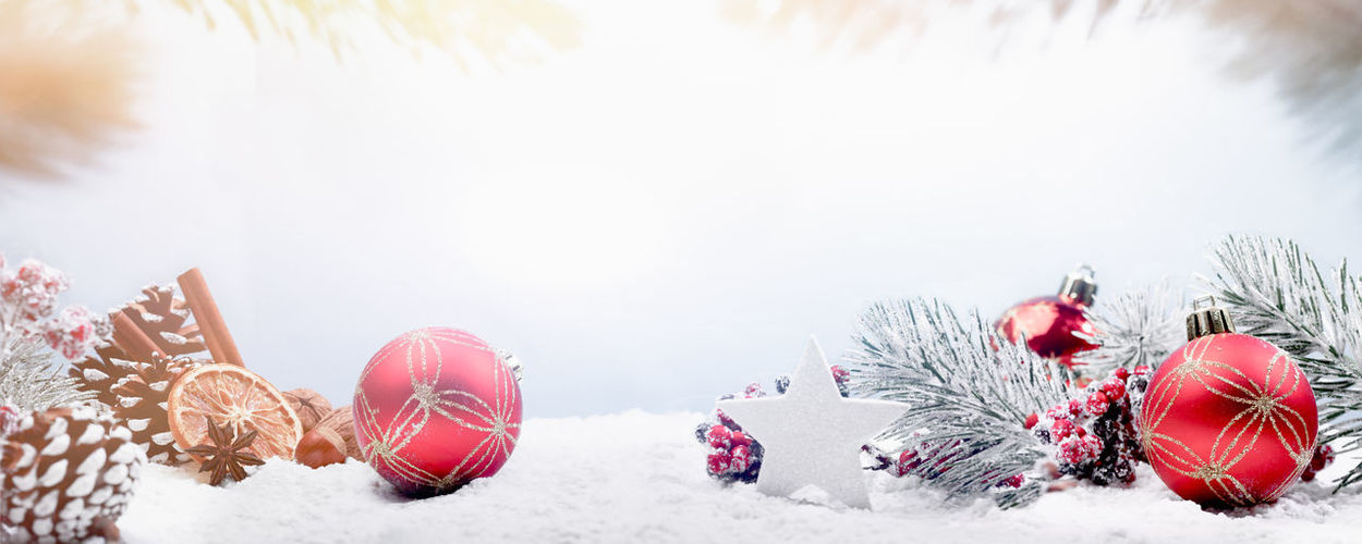 Christmas decorations on snow covered land against sky