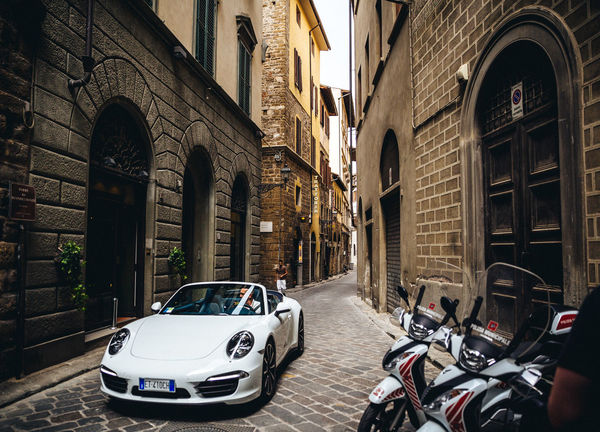 Old and New European  Luxurylifestyle  Porsche Stylish Architecture Building Exterior Built Structure Car City Day Florence Italy Italy❤️ Land Vehicle Lifestyle Photography Luxury Mode Of Transport Motorcycle No People Outdoors Road Stationary Street Style Transportation Mobility In Mega Cities