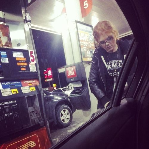 I'm always taking pictures of her pumping gas. @bkscribbz Lifeisexpensive Redheadlife Retailtherapy