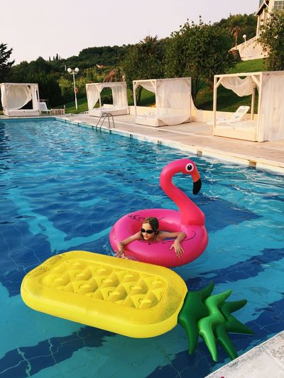 Paint The Town Yellow Inflatable Ring Swimming Pool Inflatable  Water Flamingo Day Floating On Water Childhood Yellow Summer Swimming Vacations