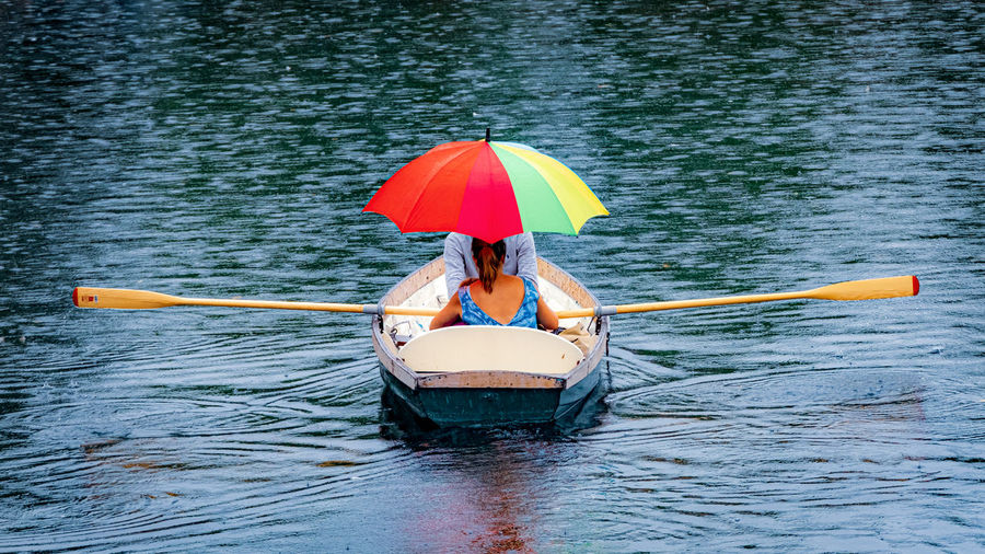 Woman with umbrella on boat in water