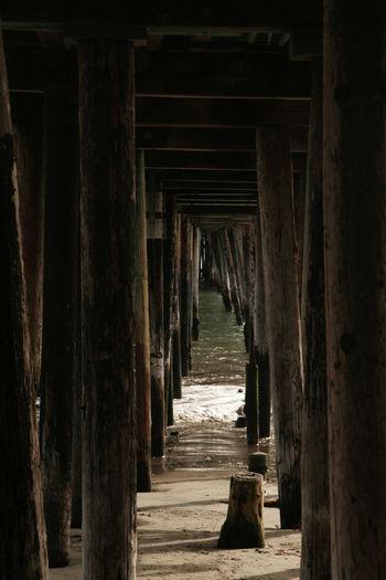 Narrow wooden walkway