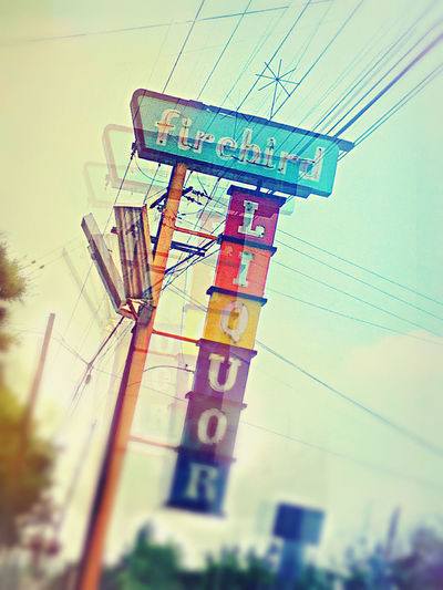 Artsy Colorful Sign Double Glendora, CA. Liquor Store SoCal Stylized Triple Exposure Vintage Sign West Covina