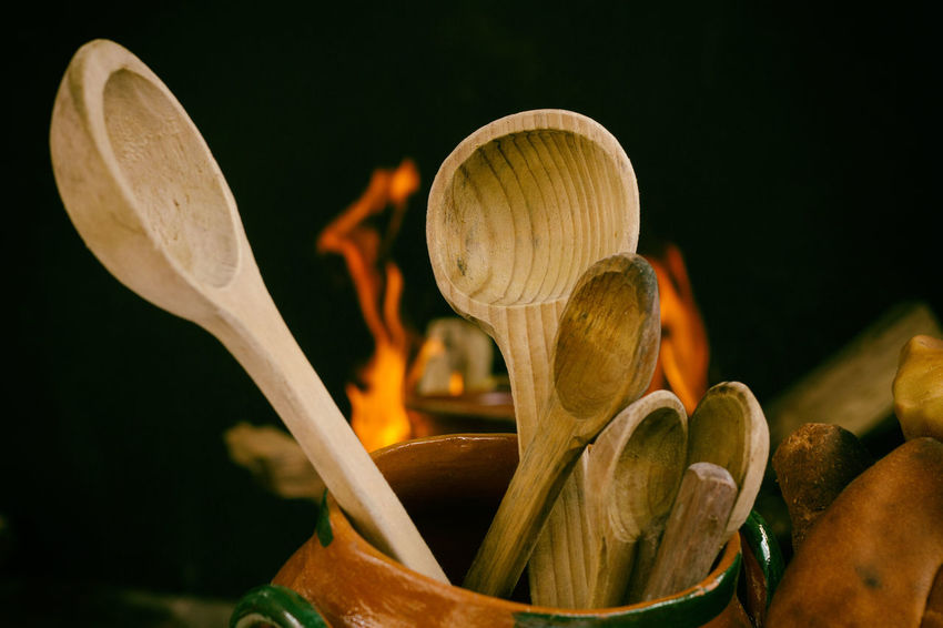 Wooden spoons seen against fire in a traditional kitchen. Cooking Wooden Spoons Close-up Day Freshness Kitchen kitchen utensils Nature No People Spoons Wood - Material Wood Texture Wooden Spoon