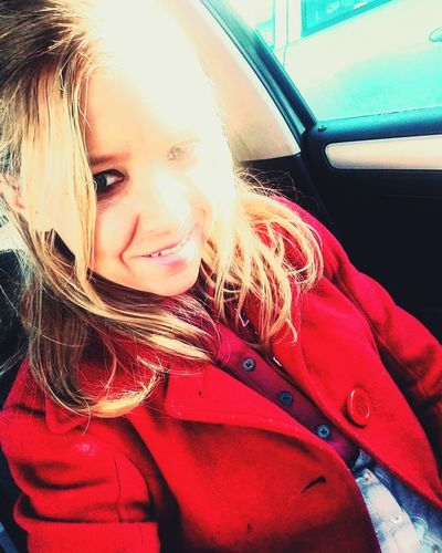 seeing red Redcoat Redred Eyecatcher Sunlight Fashion Love ♥ Pretty Workday Notposing Everyday Life Justhappened Favorite Lovelovelove Lookgoodfeelgood Simple Beauty Me Strong Car Car Interior Transportation Land Vehicle Mode Of Transport Looking At Camera One Person Portrait Day Lifestyles