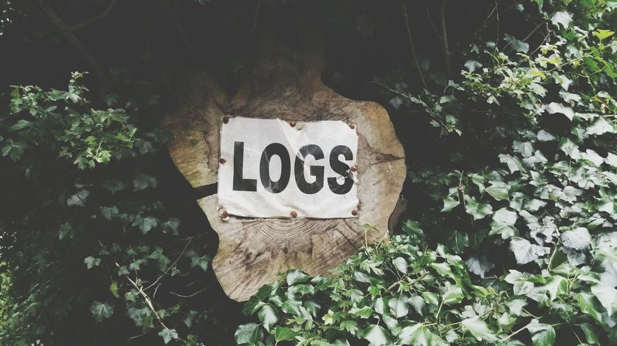 High Angle View Of Tree Stump With Logs Text In Garden