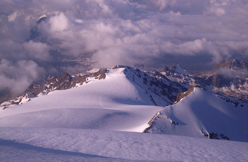 Snow covered mountain against sky, monte rosa group, alps, italy
