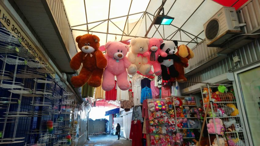 Toy bears on the market Toybear Pink Toy Soft Toy Hugs Market Marknad Bjorn Barabashova Kharkiv Hanging Architecture Built Structure Store Retail  Indoors  Low Angle View