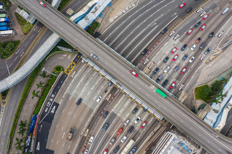 Hong Kong aerial shot Transportation Land Vehicle High Angle View Road Mode Of Transportation Motor Vehicle Car Architecture City Street Traffic Highway Built Structure Connection No People Day City Street Motion Aerial View Outdoors Multiple Lane Highway Overpass
