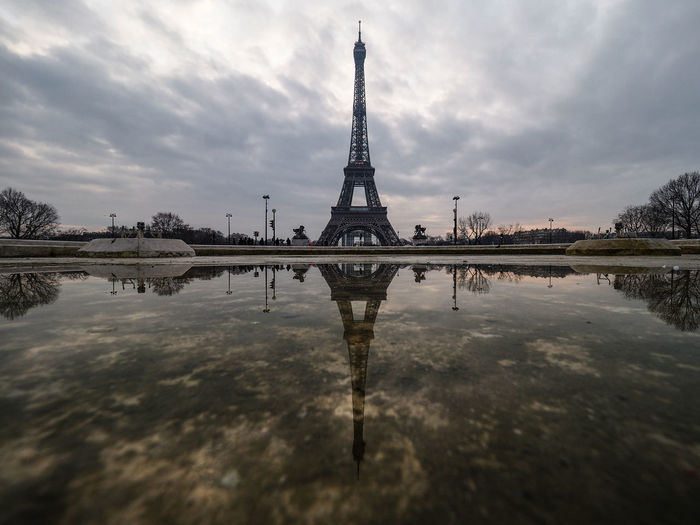 Reflection of tower in water