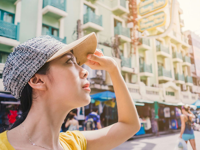 Adventure Club Woman Girl Cap Yellow Adventure Travel Tourist Bangkok Walk Sun Hot ASIA Asian  Culture Showcase July
