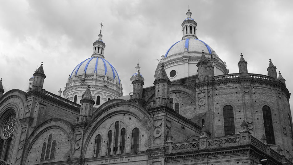 Cathedral Catholic Church New Cathedral Of Cuenca Architecture Blackandwhite Blue Built Structure Cuenca, Ecuador Domes Ecuador Majestic Place Of Worship Religion Sky EyeEmNewHere