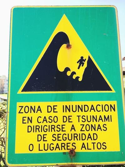 Tsunami Communication Text Sign Western Script No People Information Yellow Information Sign Warning Sign Human Representation Representation Close-up Guidance Road Script Green Color Road Sign Non-western Script Symbol High Angle View