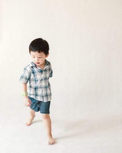 Portrait on cute Asian kids EyeEm Selects Child Full Length Childhood Males  Boys Standing barefoot White Background Back Babyhood Toddler  Baby Clothing Baby Girls Babies Only Baby Boys