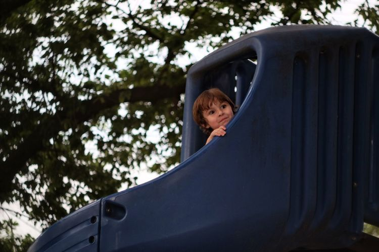 Portrait of a young boy on play equipment