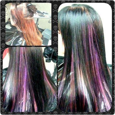 Beautybytammy Mainstreethaircompany Huntingtonbeachpier Huntingtonbeach pacific westcoast gothicbeauty goth blackhair purplehair matrix colorful