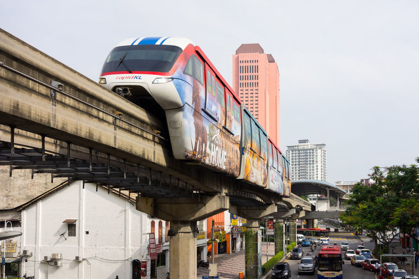 In order to reduce traffic congestion, monorail been introduced as a part of public transportation in Kuala Lumpur, Malaysia since 2003. Bus Kuala Lumpur Malaysia Monorail  Pillar PROGRESSIVE Traffic Jam Transportation Urban
