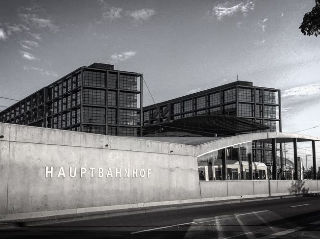 Architecture Built Structure Sky Text Day Outdoors Building Exterior Black And White Blackandwhite Photography Berliner Ansichten Black & White Bnw City Berlin Streetshot Travel Destinations Architecture Streetphotography Transportation City Life Street Photography Station Travel Monochrome Modern Architecture
