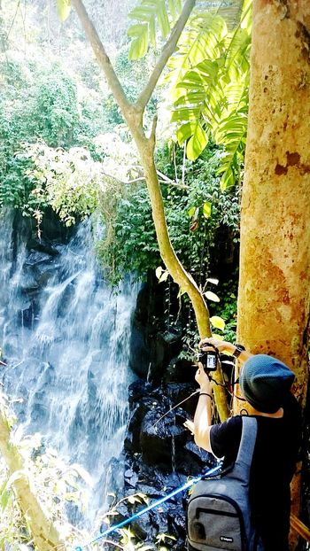 Taking Photos Waterfall Beautiful Nature Green Green Green!  Sony Xperia Photography. Photographer In The Shot Nice Views