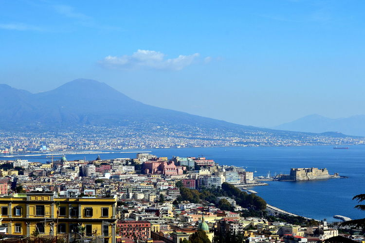 Cityscape Naples Architecture Building Exterior Built Structure City Cityscape Community Crowded Day High Angle View House Mountain Nature Outdoors Place To Visit Residential  Residential Building Residential District Sea Sky Town Travel Destinations Vesuvius  Water