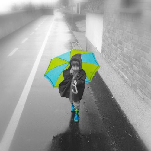 B&w Street Photography Blackandwhite Black & White Black&white Black And White Umbrella Rain Autumn Fall Storm Weather Rainy Days Rainy Day Rainy RainyDay RainyDays Selective Color Color_splash Child Childhood Walking In The Rain