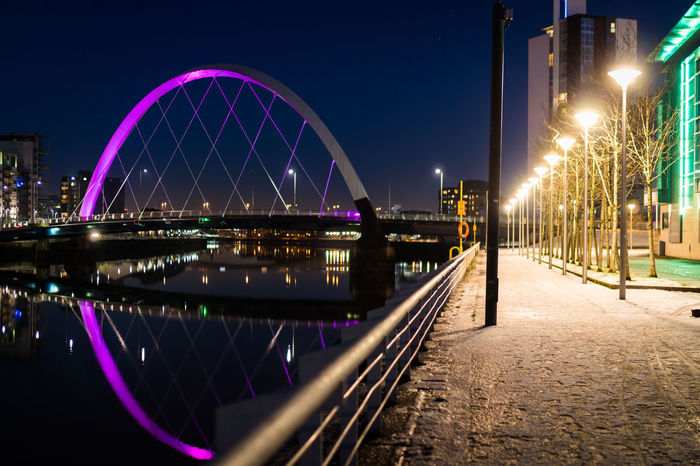 Glasgow  Ice Reflection River Clyde Winter Architecture Arts Culture And Entertainment Bridge - Man Made Structure Building Exterior Built Structure Cable Bridge City City Lights Clear Sky Clyde Arc Illuminated Night No People Outdoors Pathway Sky Snow