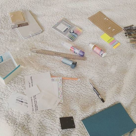 My bed spread, currently. Putting together my own Bulletjournal Planner .