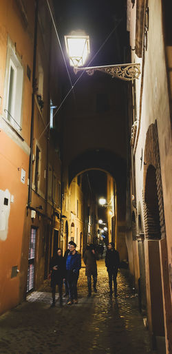 Rear view of people walking on street amidst buildings at night