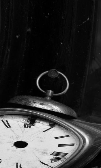 Clock Time Indoors  No People Old Close-up Metal Instrument Of Time Antique Still Life Retro Styled Number Focus On Foreground Glass - Material Abandoned Single Object Obsolete Blackandwhite Deformed Roman Number Dark Black And White Copy Space