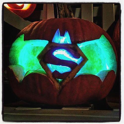 Pumpkin Halloween Decoration Batman Superman Lights Green Blue Superbatman Sign