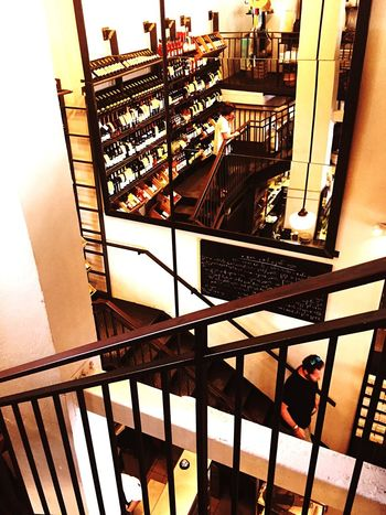 Mirror Stairs Indoors  Shop Railing Retail  Wine Bottles Wine Shelf Wine Shop