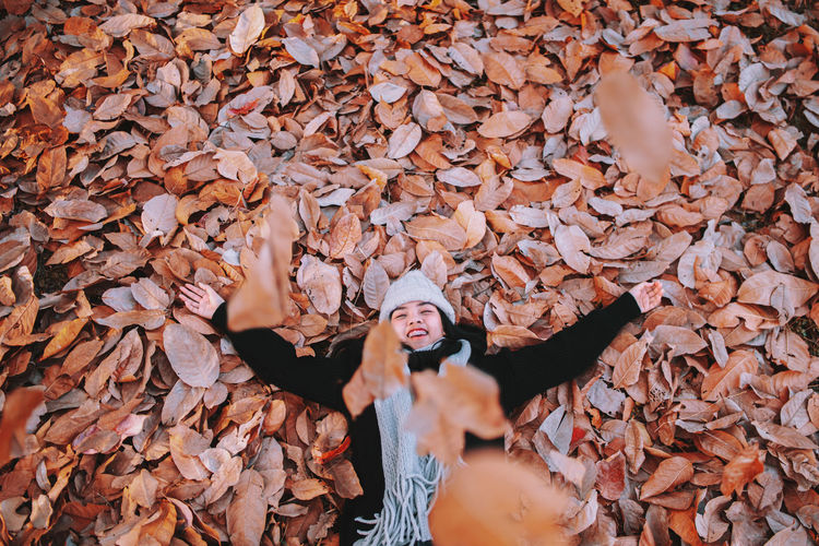 High Angle View Of Woman With Arms Outstretched Lying On Dry Leaves On Field