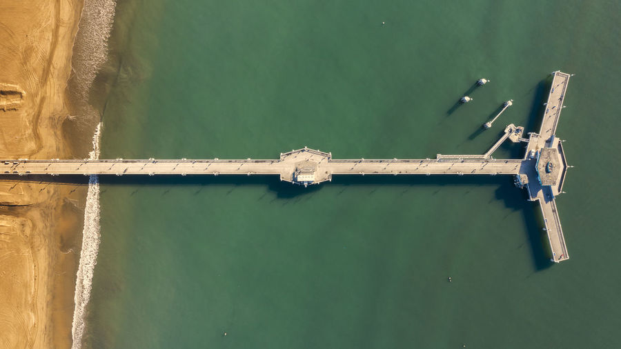Pier Ocean Long Beach California Beach Water Aerial View Dronephotography Birds Eye View Nature Day Outdoors Directly Above