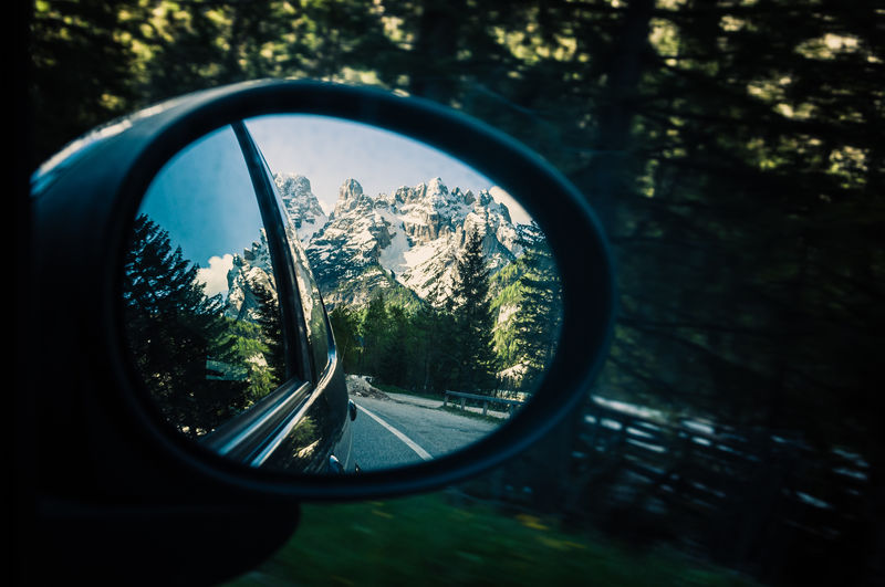 Reflection Mode Of Transportation Motor Vehicle Side-view Mirror Land Vehicle Mirror Car Transportation Tree Glass - Material Nature No People Close-up Plant Day Glasses Road Sky Outdoors Selective Focus Vehicle Mirror Eyewear Travel Landscape South Tyrol