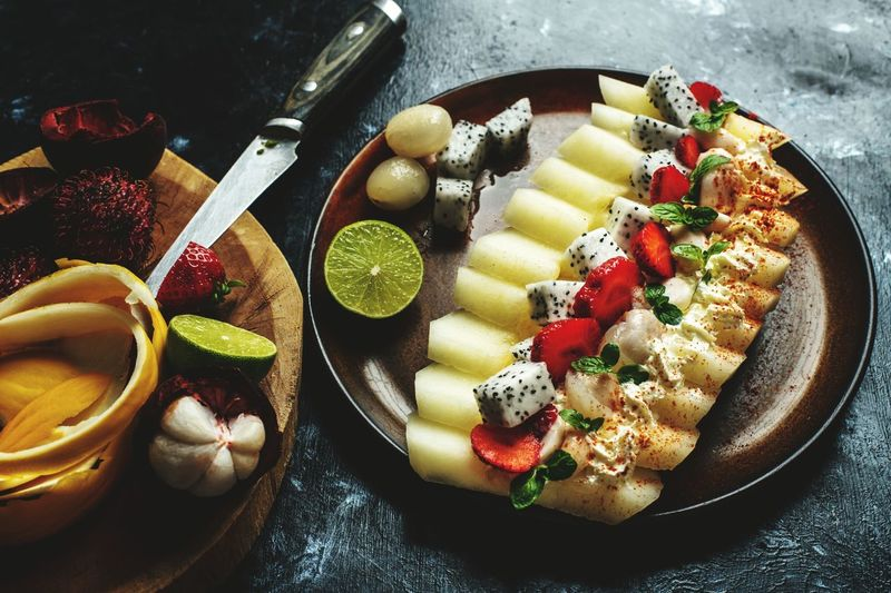 charm of exoic fruits Exotic Fruit Melon Strawberry Mangosteen Tropical Asian  Cuisine Food Healthy Eating Vitamin Fruit Close-up Sweet Food Food And Drink Frozen Sweet Food Vanilla Ice Cream  Starter Sorbet Ice Cream