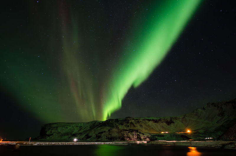 Aurora Borealis, Iceland Astronomy Aurora Polaris Beauty In Nature Galaxy Green Color Idyllic Illuminated Milky Way Mountain Nature Night No People Scenics - Nature Sky Space Star Star - Space Star Field Tranquil Scene Tranquility Water