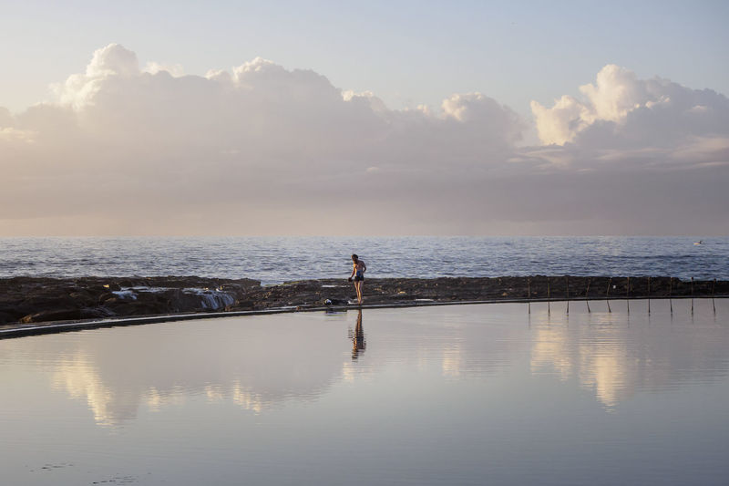 Beauty In Nature Calm Cloud - Sky Horizon Over Water Reflection Rockpool Sea Shore Tranquil Scene Water
