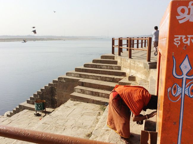 Holycity India Ganga Oldestcity Varanasi Sadhu Hinduism Follow Orange River