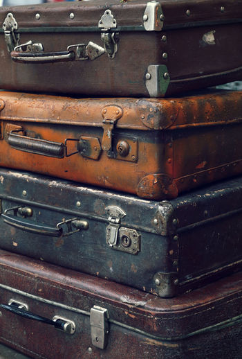 Close-Up Of Old Suitcases