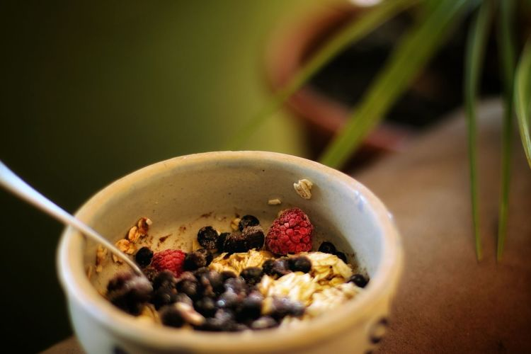 Close-up of breakfast served in bowl