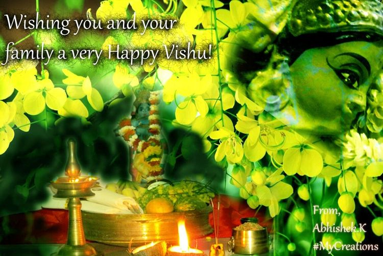 Vishu Lord Krishana the malayalam calender Our New Year. Wishing all my friends and family members a very Happy vishu. Photoshop Edit Mycreation Festival Vishukani Kerala India Kerala The Gods Own Country ;)