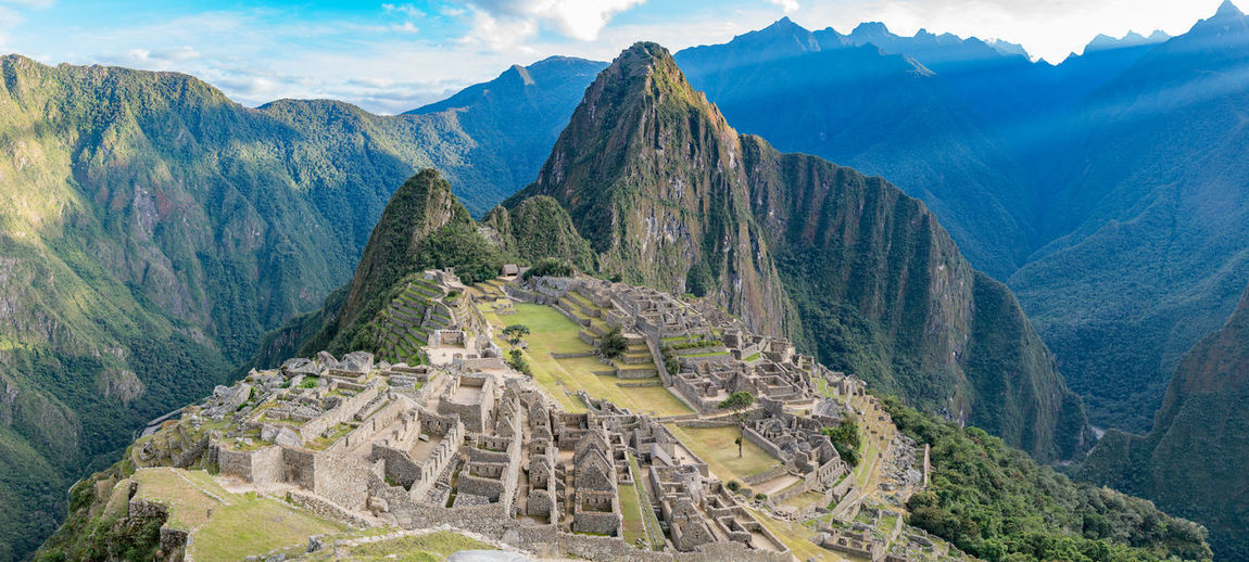 Panoramic View Of Old Ruins At Machu Picchu