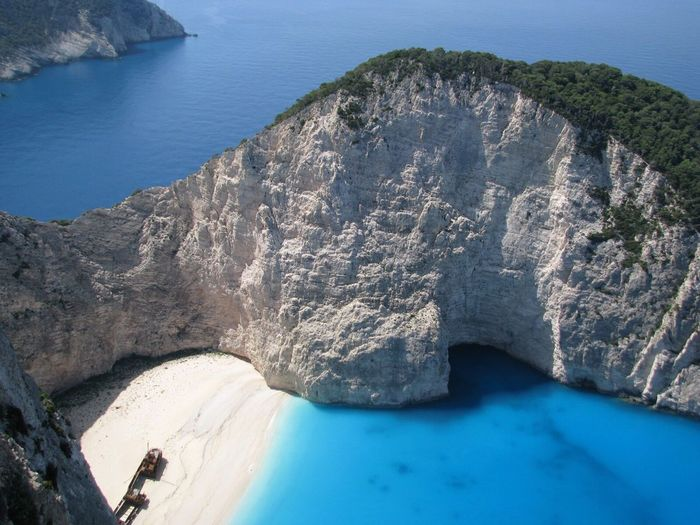 High Angle View Of Cliff At Zakynthos